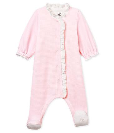 Baby-bodyjama mädchen aus samt mit ringelstreifen rosa Pearl / weiss Multico