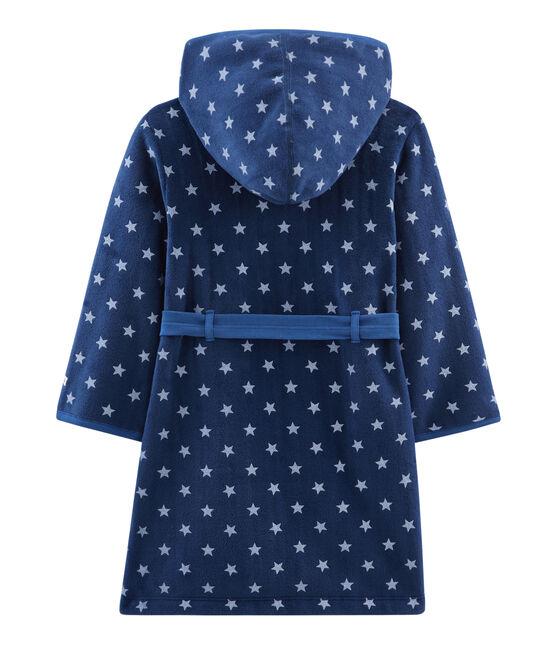 Morgenmantel aus Fleece für Kinder blau Medieval / weiss Marshmallow