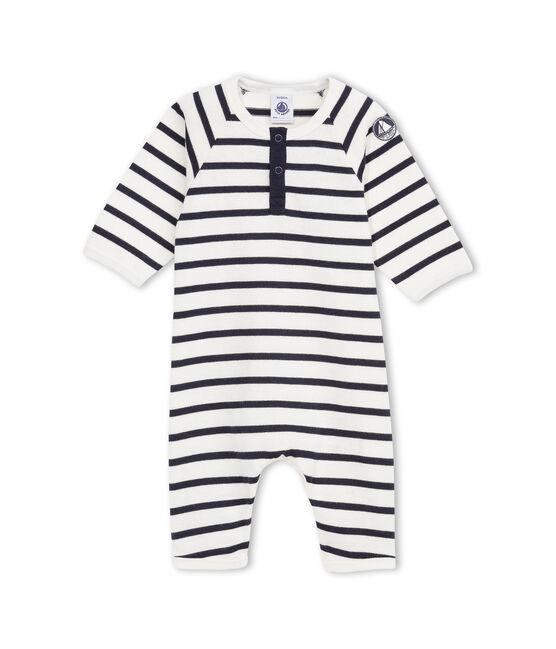Baby Jungen Overall aus gestreiftem, festem Jersey beige Coquille / blau Abysse
