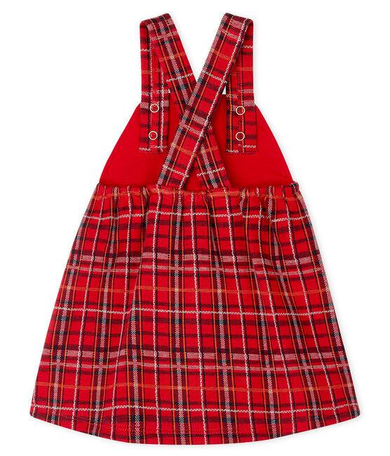 Kariertes Baby-Latzkleid für Mädchen rot Terkuit / weiss Multico