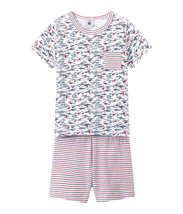 Bedruckter Jungen-Schlafanzug mit Streifen weiss Ecume / blau Smoking