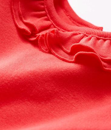 Langärmliger Baby-Body mit breitem Rüschenkragen für Mädchen rot Signal