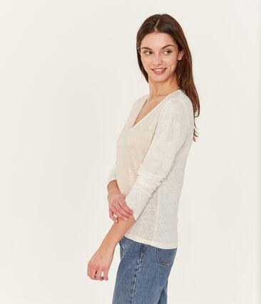 Schillerndes langärmeliges damen-t-shirt aus leinen weiss Marshmallow / rosa Copper