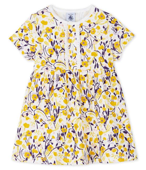 Kurzärmeliges Baby-Kleid für Mädchen weiss Marshmallow / weiss Multico