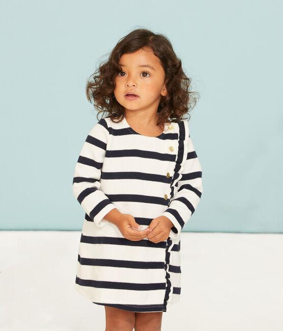Langärmeliges baby-kleid mit seemannsstreifen mädchen weiss Marshmallow / blau Smoking