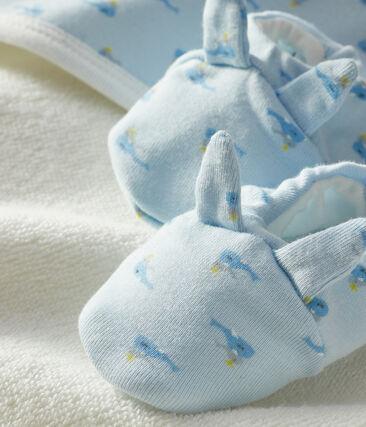 Box mit Badetuch und Babyschuhen aus Frottee und Rippstrick blau Fraicheur / weiss Multico
