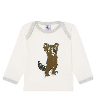 Langärmeliges Baby-T-Shirt für Jungen weiss Marshmallow