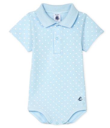 Baby-Body, gemustert, mit Polohemdkragen für Jungen blau Fraicheur / weiss Marshmallow