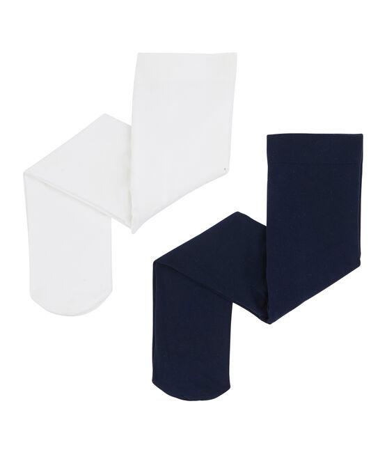 Set aus zwei Babystrumpfhosen für Mädchen blau Smoking / weiss Marshmallow