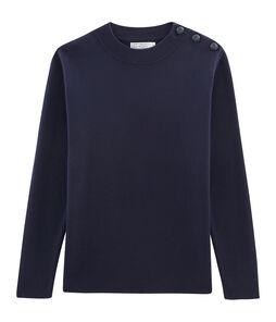 Seemannspullover für Herren einfarbig blau Smoking