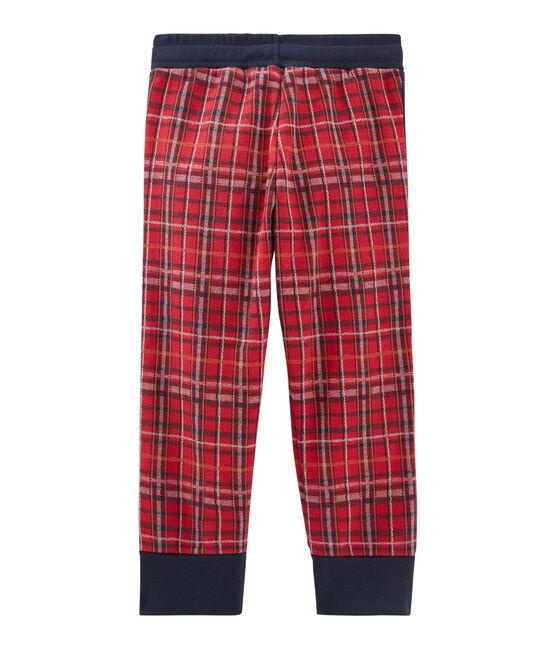 Strickhose mit Tartanmuster für Jungen rot Terkuit / blau Smoking