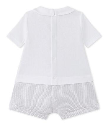 Kurzer Baby-Jungen-Einteiler im Materialmix weiss Ecume / beige Beige