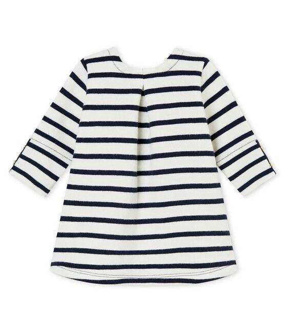 Klassisches Baby MädchenKleid weiss Marshmallow / blau Smoking