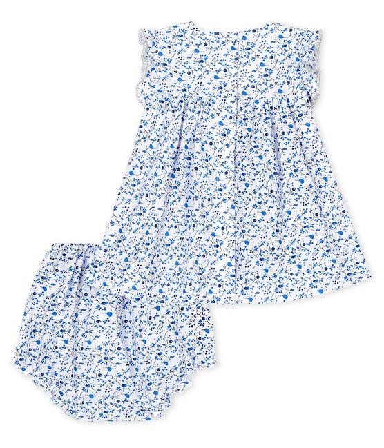 Babykleid für Mädchen mit Bloomer, blauer Blumendruck aus Popelin weiss Marshmallow / weiss Multico