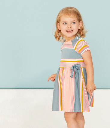 Gestreiftes kurzärmeliges baby-kleid mädchen