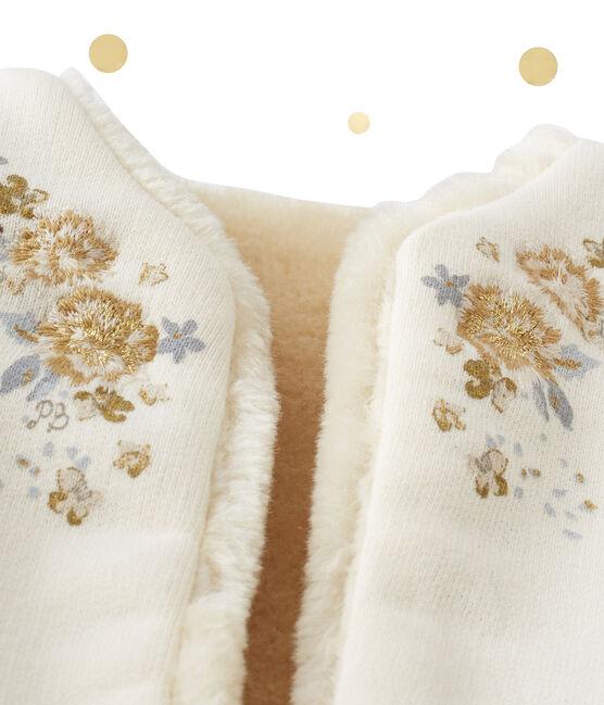 Wendbare Baby-Mädchen-Weste beige Coquille