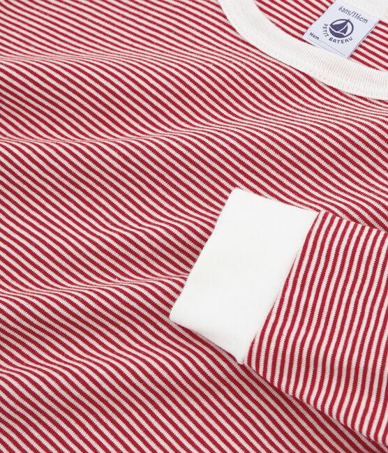 Rippstrick-Pyjama für kleine Jungen rot Terkuit / weiss Marshmallow