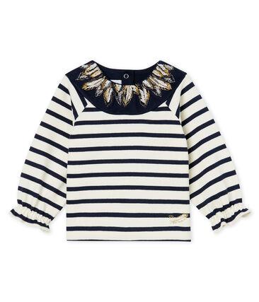 Neu interpretiertes Baby-Streifenshirt für Mädchen beige Coquille / blau Smoking