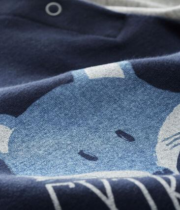 Langärmeliges Baby-T-Shirt für Jungen blau Smoking / grau Beluga