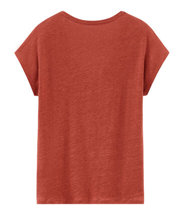 Kurzärmeliges einfarbiges schillerndes leinen-t-shirt damen orange Ombrie / rosa Copper