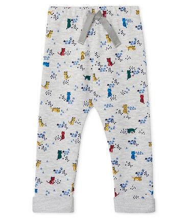 Baby-Hose aus bedrucktem Molton für Jungen grau Beluga / weiss Multico