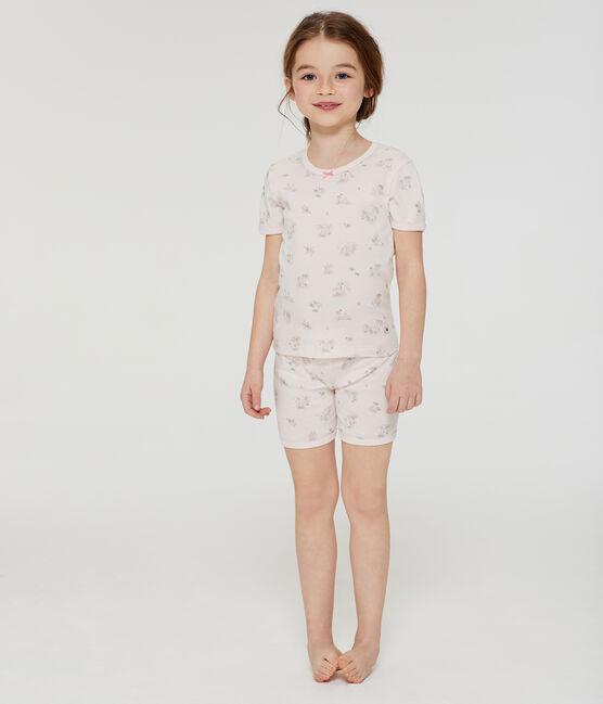 Sehr eng anliegender Rippstrick-Kurzpyjama für kleine Mädchen. rosa Fleur / weiss Multico