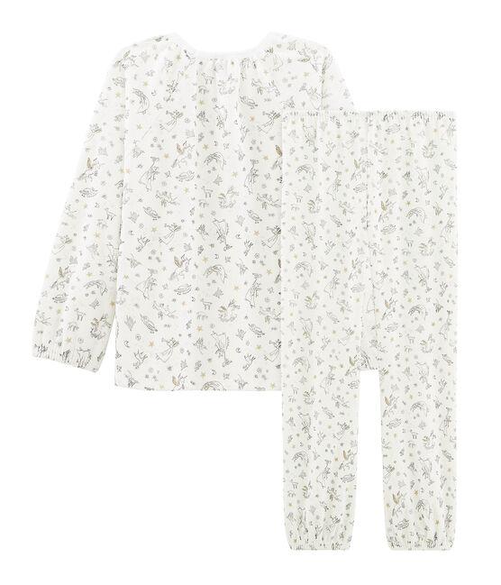 Samt-Pyjama für Mädchen weiss Marshmallow / weiss Multico Cn