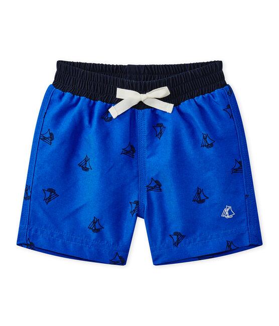 Bedruckte Baby-Jungen-Strandshorts blau Perse / blau Smoking