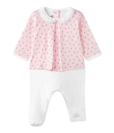 Baby-Mädchen-Wickelhemd-Einteiler im Materialmix rosa Vienne / weiss Multico