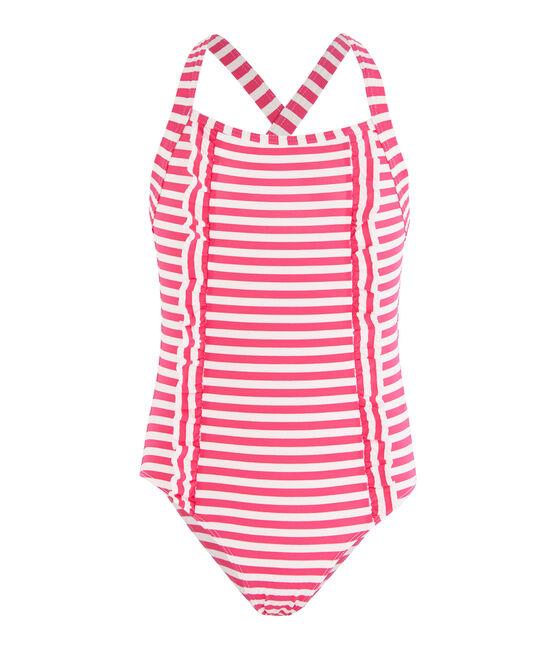 Sonnenschutz-Badeanzug für Mädchen rosa Geisha / weiss Marshmallow