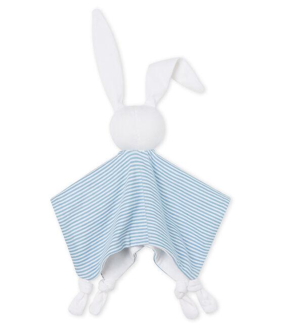 Baby-Kuschelhäschen aus Rippstrick blau Acier / weiss Marshmallow