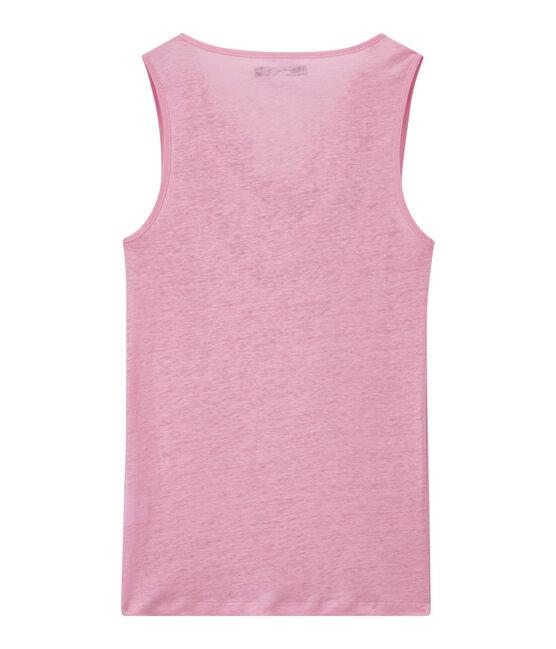 Damen-Top aus irisierendem Leinen rosa Babylone / grau Argent