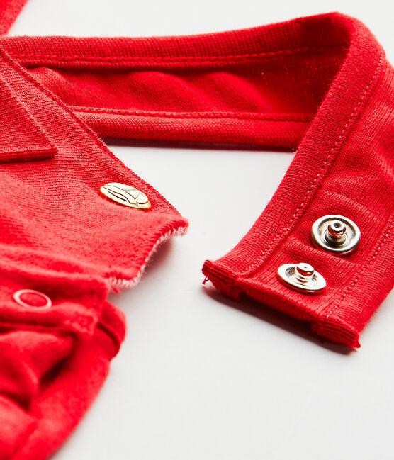Kurze Baby-Mädchen-Latzhose aus schwerem Jersey rot Terkuit