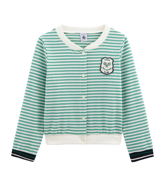 Kinder-Cardigan Mädchen grün Aloevera / weiss Marshmallow