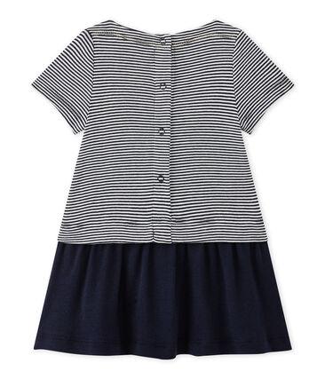 Baby-Mädchen-Kleid mit Milleraies-Ringelmuster blau Smoking / weiss Lait