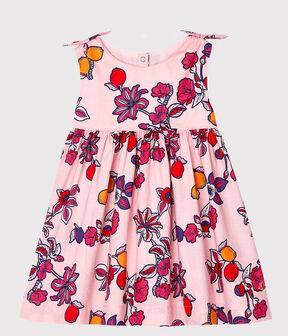 Gemustertes ärmelloses Baby-Kleid für Mädchen rosa Merveille / weiss Multico