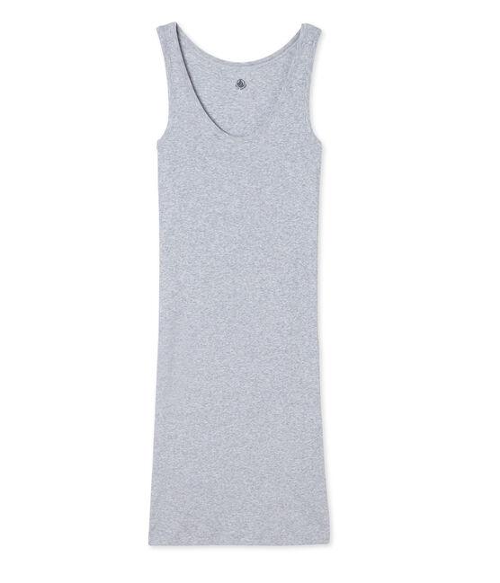 Damen-Nachthemd aus ultra-leichter Baumwolle grau Fumee Chine
