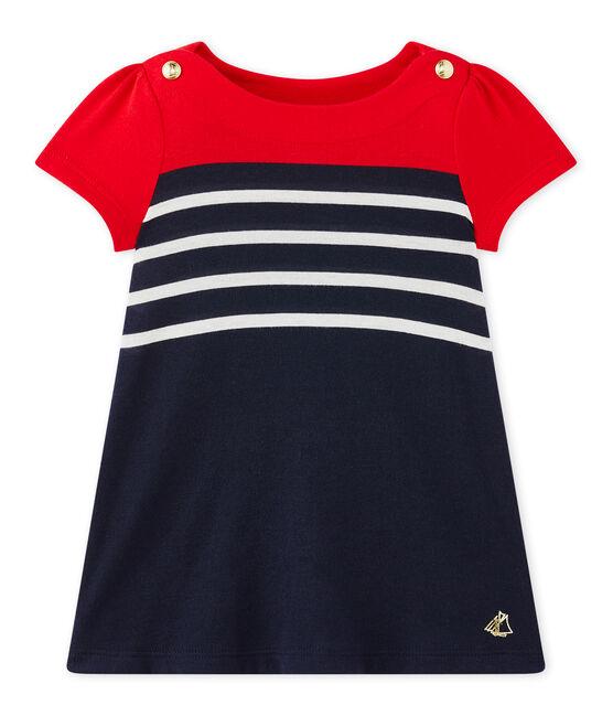 Gestreiftes Baby-Mädchen-Kleid blau Smoking / weiss Multico