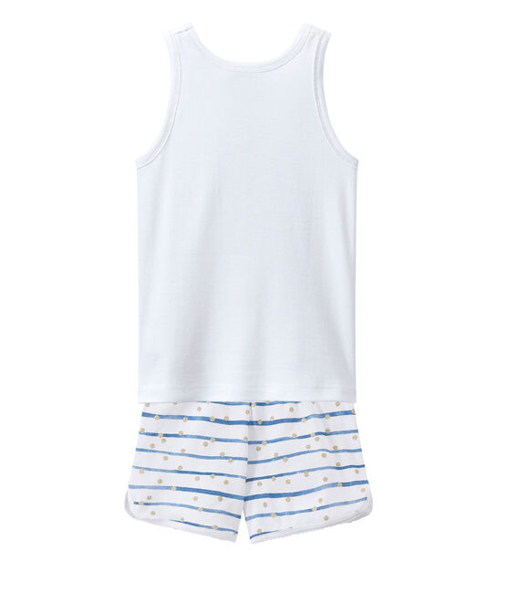 Kurzer Schlafanzug weiss Ecume / blau Bleu