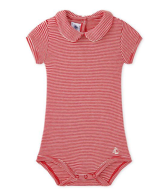 Gestreifter Baby-Mädchen-Body mit Kragen rot Terkuit / weiss Marshmallow