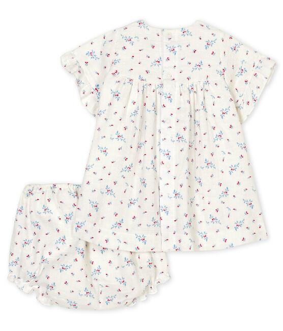 Babykleid mit Bloomer für Mädchen, blauer Blumendruck aus Popelin weiss Marshmallow / weiss Multico