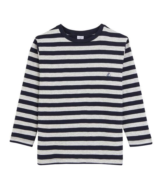 Langarm-T-Shirt für Jungen blau Smoking / grau Beluga