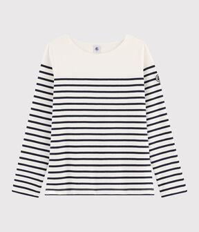 Das Streifenshirt für Damen weiss Marshmallow / blau Smoking