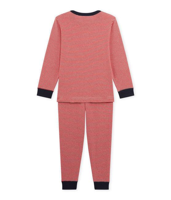 Jungen-Schlafanzug mit Milleraies-Ringelmuster rot Froufrou / beige Coquille