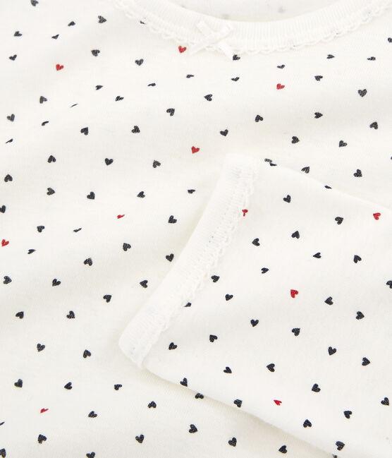 Rippstrick-Pyjama für kleine Mädchen. weiss Marshmallow / weiss Multico