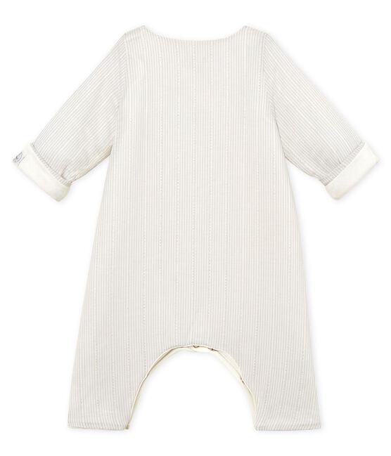 Gestreifter baby-labgoverall jungen weiss Marshmallow / beige Perlin