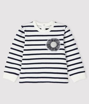 Ikonisches Baby-Sweatshirt für Mädchen weiss Marshmallow / blau Smoking