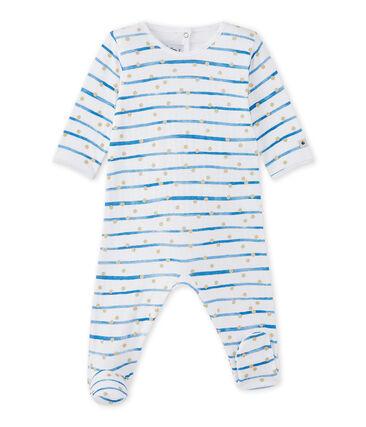 Gestreifter Baby-Mädchen-Strampler aus gedoppeltem Jersey