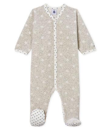 Baby-Strampler aus Samt für Jungen grau Beluga / weiss Marshmallow