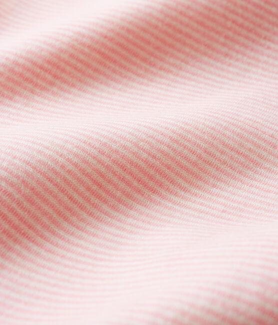 Baby-Body mit langen Beinen und Streifen aus Wolle und Baumwolle rosa Charme / weiss Marshmallow